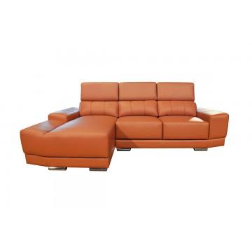 Livia L-Shaped Leather and Fabric Sofa