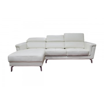 Silvia L-Shaped Leather and Fabric Sofa