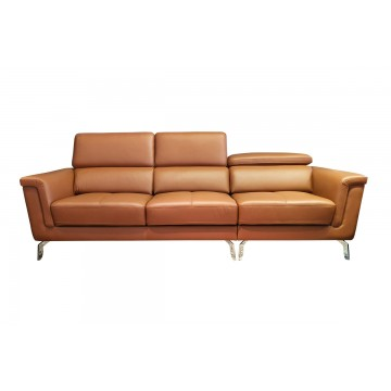 Silvia Normal Seater Leather and Fabric Sofa