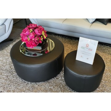Full Leather Round Pouf (Large)